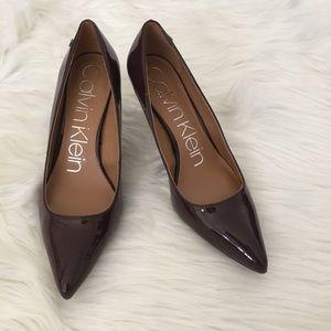 CALVIN KLEIN Burgundy/Brown High Heels Shoes 8.5M